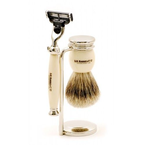 D R Harris 3 Piece Traditional Shaving Set - Ivory