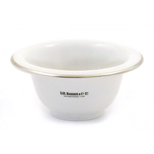 D R Harris Porcelain Shaving Bowl with Chrome Rim