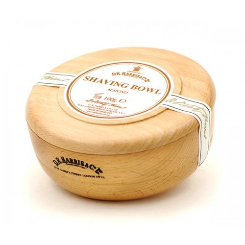 D R Harris Wooden Shave Soap Bowl - Beech - Almond (100g)