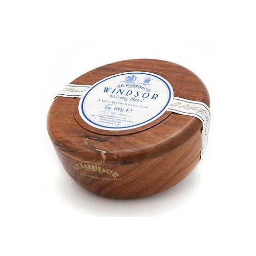 D R Harris Wooden Shave Soap Bowl - Mahogany - Windsor (100g