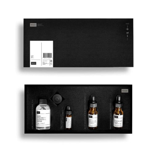 NIOD Set No.1 - Low-Viscosity Cleaning Ester (50ml) + Fractionated Eye Contour Concentrate (3ml) + Multi-Molecular Hyaluronic Complex (15ml) + Photography Fluid, Opacity 12% (15ml)