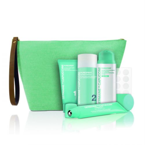 Germaine de Capuccini Purexpert Gift Set - Balancing Perfection Serum (50ml) + Roll-on Spot SOS Anti-Imperfections Solution (15ml) + Purifiying Mattifying Foam (30ml) + Invisible Spot Patch