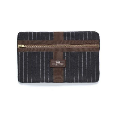 Otis Batterbee Medium Classic Envelope - Grey Pinstripe