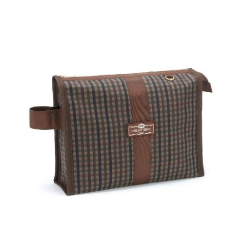 Otis Batterbee Medium Grand Tour Wash Bag - Check Waxed