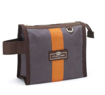 Otis Batterbee Small Grand Tour Wash Bag - Grey Waxed