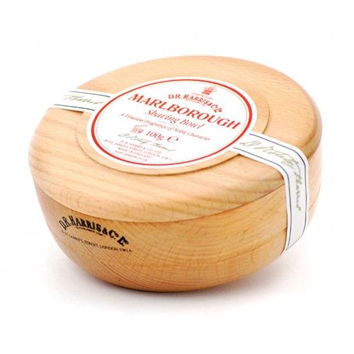 D R Harris Wooden Shave Soap Bowl - Beech - Marlborough (100g)
